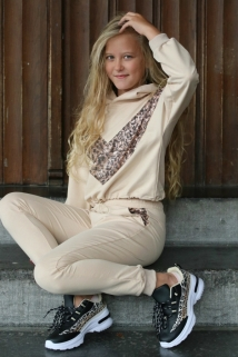 jogging beige leopard pajet