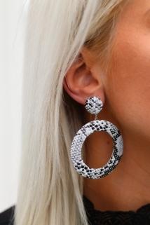 earings white snake