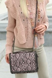 shoulderbag pink snake