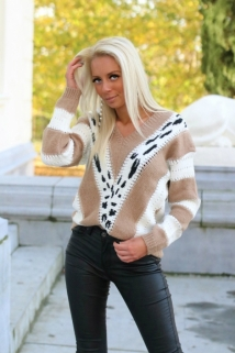 pull beige leopard gold