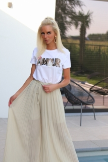 t-shirt white gold amour
