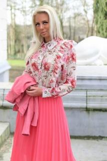 blouse beige / pink flowers