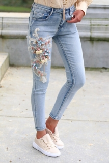 jeans strass flowers