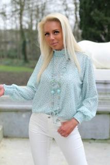 blouse mint / white