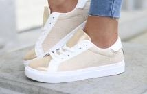 sneacker white beige / gold