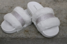 slipper white strass