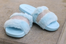 slipper light blue strass