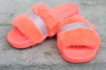 slipper orange strass