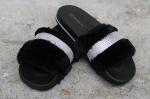 slipper black strass