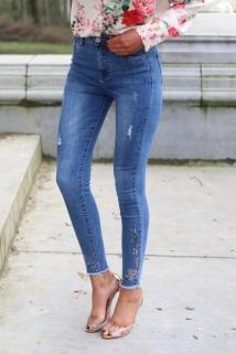 jeans flower stras
