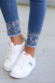 skinny jeans flowers peirle