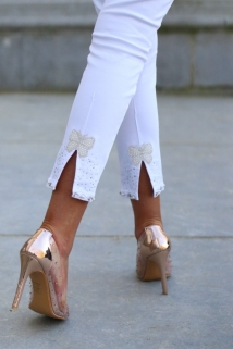 pants white peirle