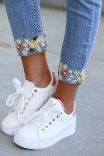 jeans flowers strass