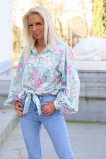 blouse mint flowers