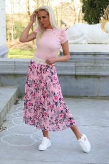 long skirt pink flowers