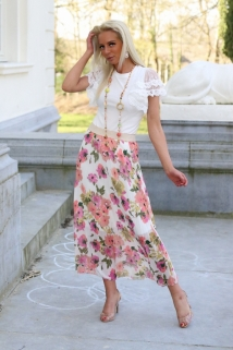 long skirt white flowers