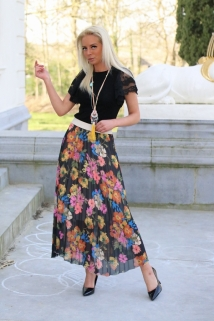 long skirt black flowers