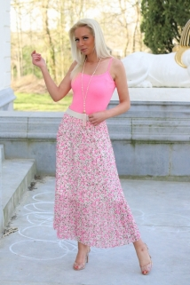 long skirt fushia flowers