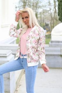 gilletjacket pink flowers