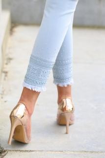jeans light blue strass