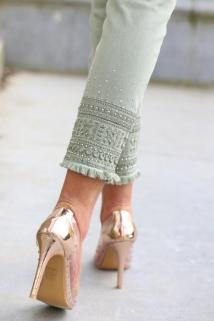 jeans light khaki strass