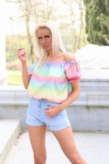 blouse multi rainbow
