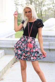 skirt black / flowers orange