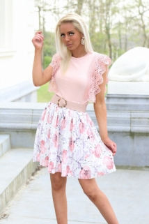 skirt white / flowers pink
