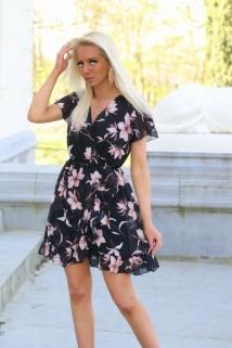 dress black flowers pink