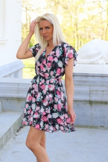 dress black fushia flowers