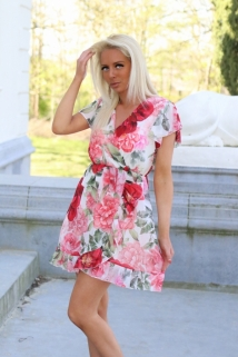 dress white white / pink red flowers