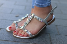 sandales silver strass