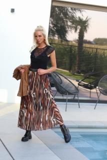 long skirt zebra multi