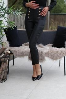 leggingpants black lederlook golden botton