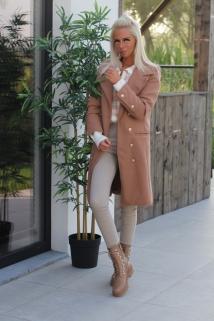 Long jacket light camel / botton