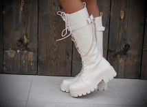 Long boots creme / gold