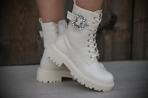 Boots creme strass