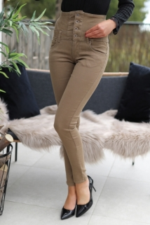 Pants Toxik taupe / brown bottons