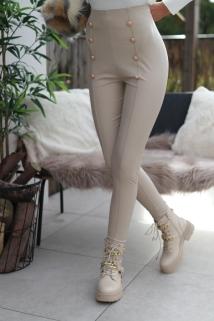 Legging Pants Creme golden Botton laiderlook