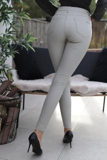 pants beige lederlook toxik
